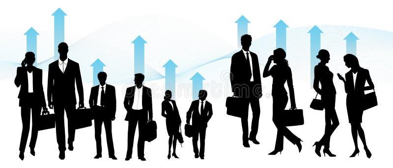Equipo global, hombres de negocios - fije de siluetas del vector libre illustration