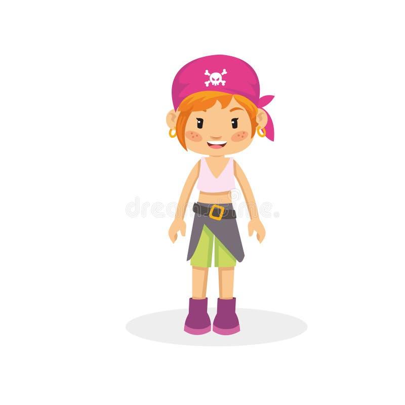 Equipo hermoso del pirata el tener cuidado con de la muchacha y banda principal rosada stock de ilustración
