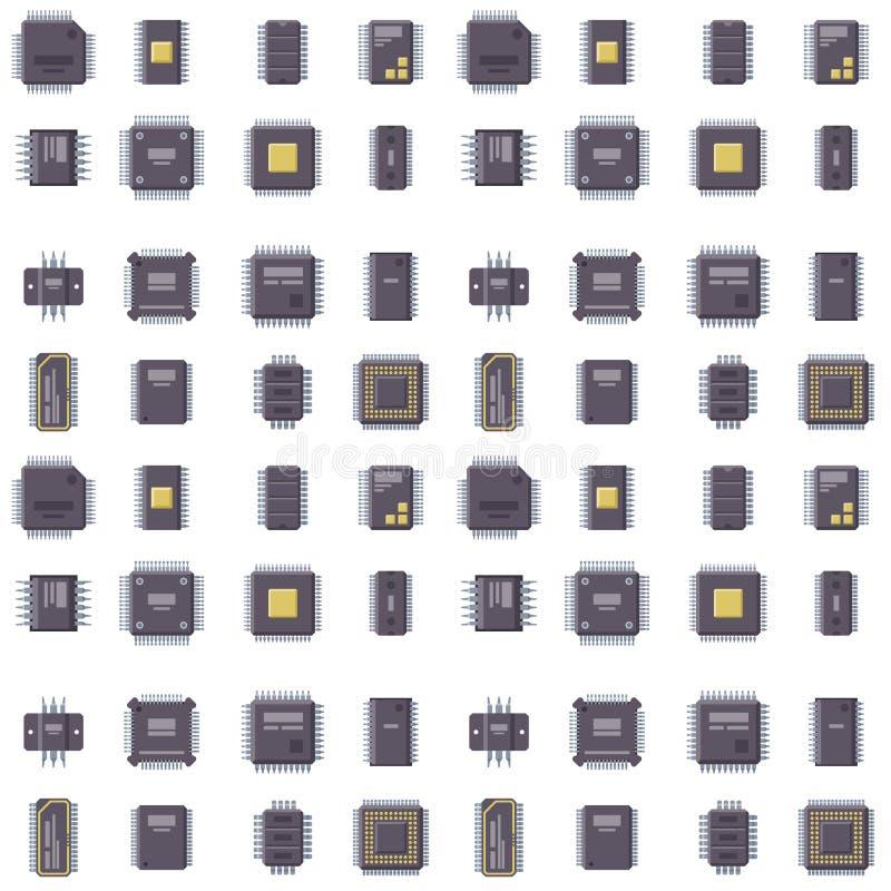 Equipo inconsútil del componente del fondo del modelo del hardware del ejemplo del vector del microchip de los microprocesadores  ilustración del vector
