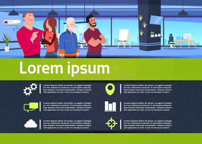 Equipo infographic creativo del negocio de la comunicación en el concepto de la relación de los empresarios del abrazo de la ofic stock de ilustración