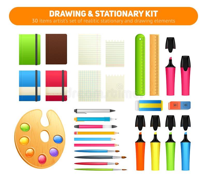 Equipo inmóvil de las fuentes para dibujar y escribir stock de ilustración