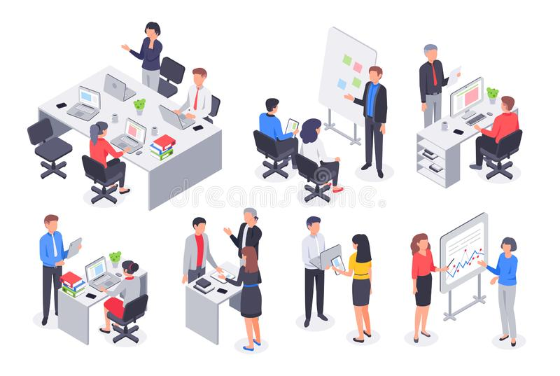 Equipo isométrico de la oficina de negocios La reunión corporativa del trabajo en equipo, el lugar de trabajo del empleado y la g stock de ilustración