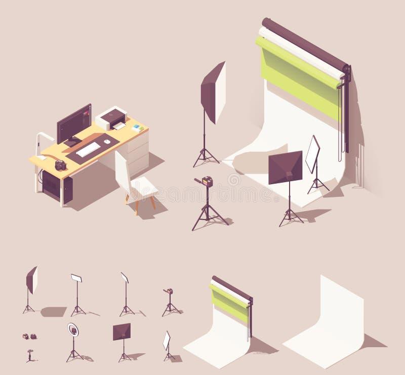 Equipo isométrico del estudio de la foto del vector ilustración del vector