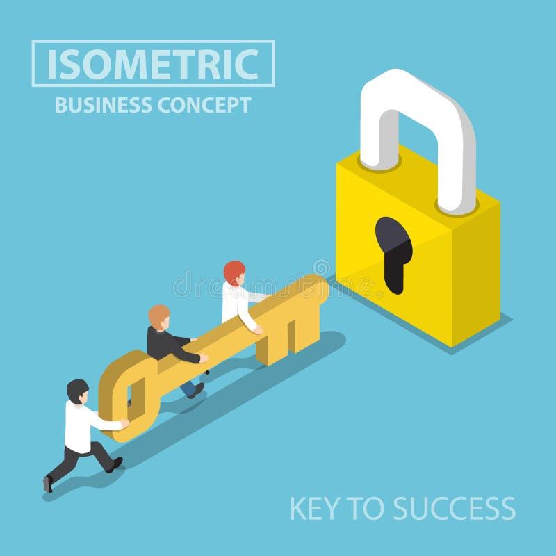 Equipo isométrico del negocio que lleva a cabo llave de oro para desbloquear la cerradura stock de ilustración