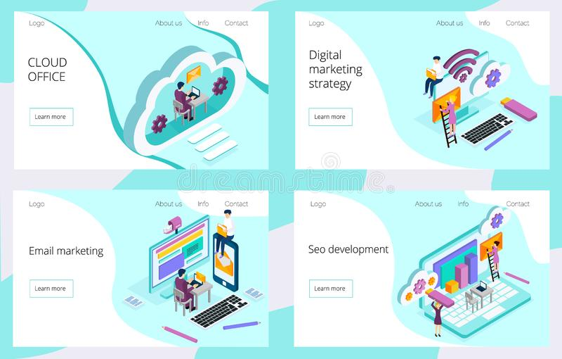 Equipo isom?trico de especialistas que trabajan en la p?gina de aterrizaje de la estrategia de marketing digital stock de ilustración