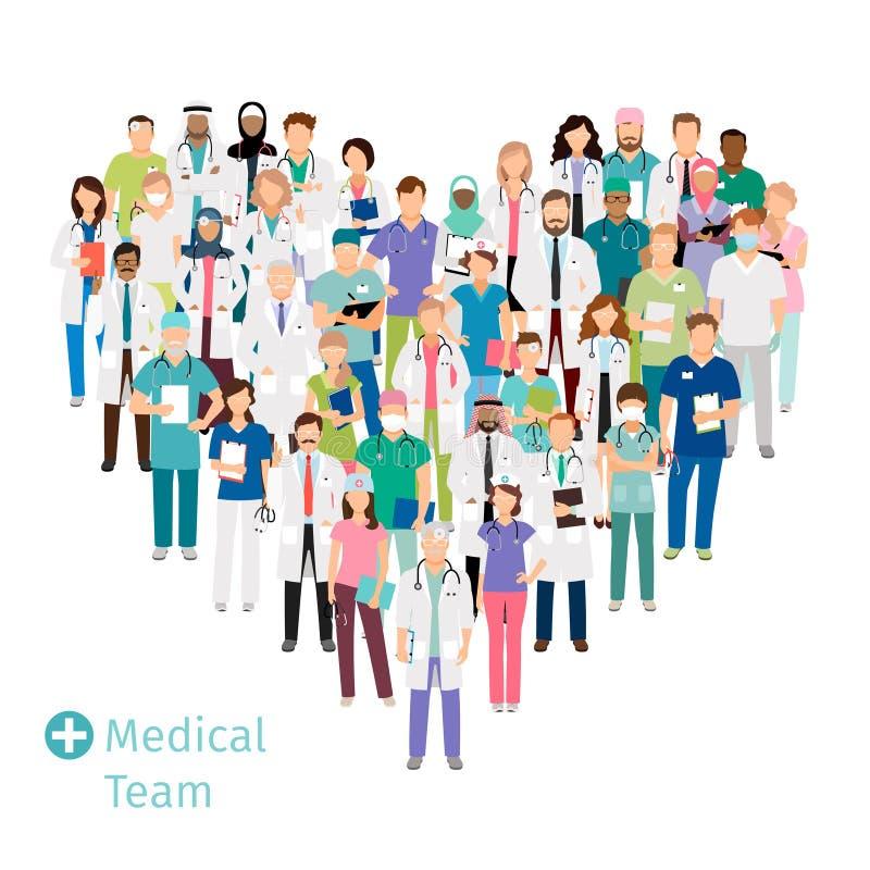 Equipo médico de la atención sanitaria en forma del corazón ilustración del vector