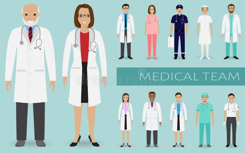 Equipo médico Grupo de los doctores, de las enfermeras y del otro personal hospitalario uniéndose Concepto del trabajo en equipo  stock de ilustración