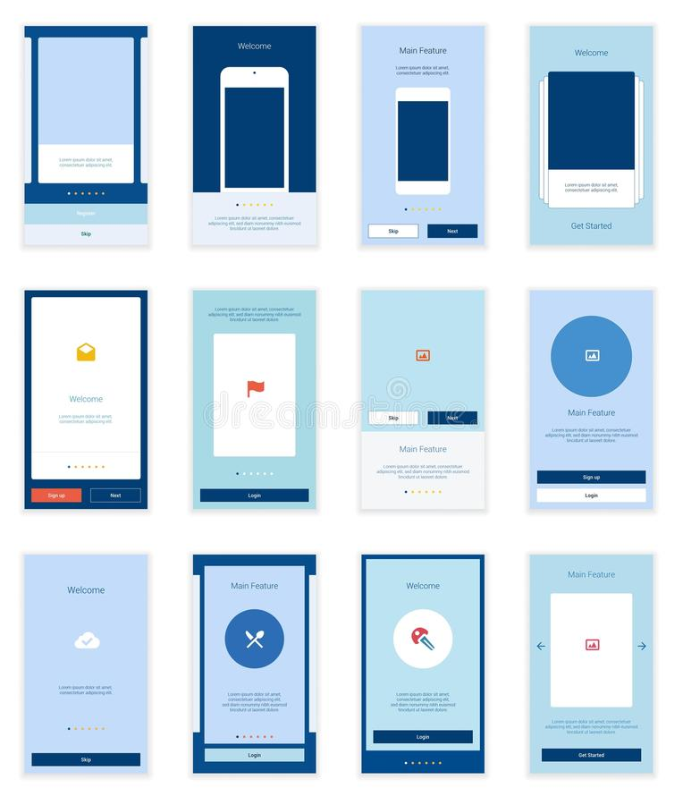 Equipo móvil de Wirefrme de las pantallas de la interfaz de usuario 35 para libre illustration