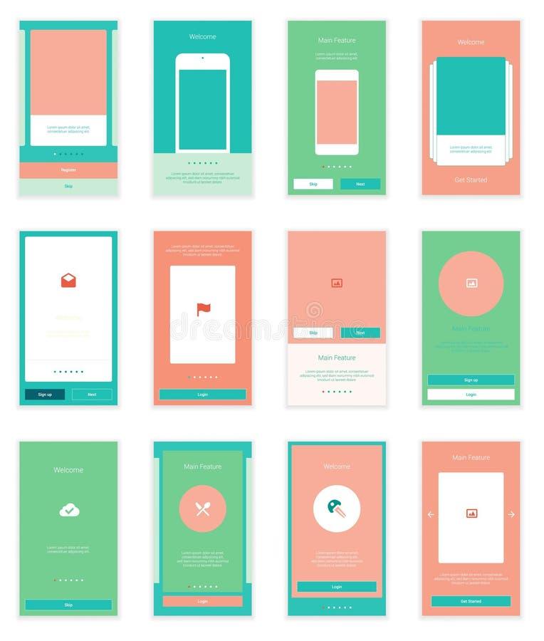 Equipo móvil de Wirefrme de las pantallas de la interfaz de usuario 35 para stock de ilustración
