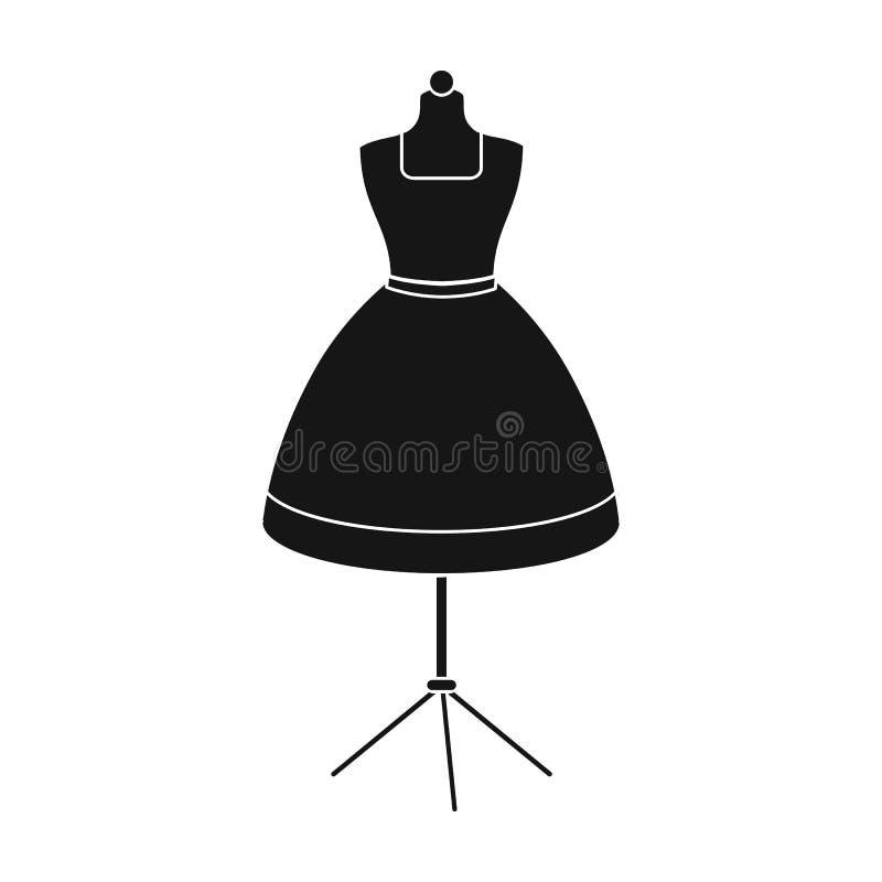 Equipo, maniquí para la ropa de costura del ` s de las mujeres La costura e icono del equipo el solo en estilo negro vector la ac libre illustration
