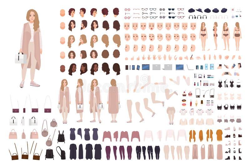 Equipo moderno elegante de la animación de la muchacha o sistema de DIY Paquete de partes del cuerpo, de ropa y de accesorios Equ stock de ilustración