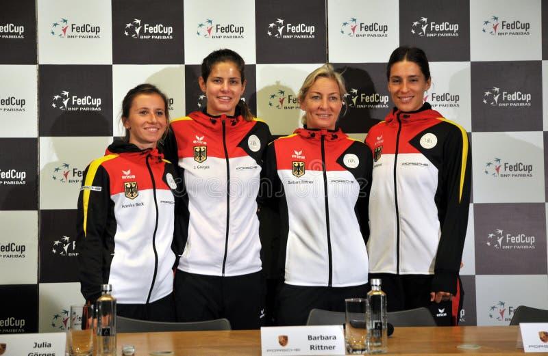 Equipo nacional del tenis de las mujeres de Alemania durante una rueda de prensa fotografía de archivo libre de regalías