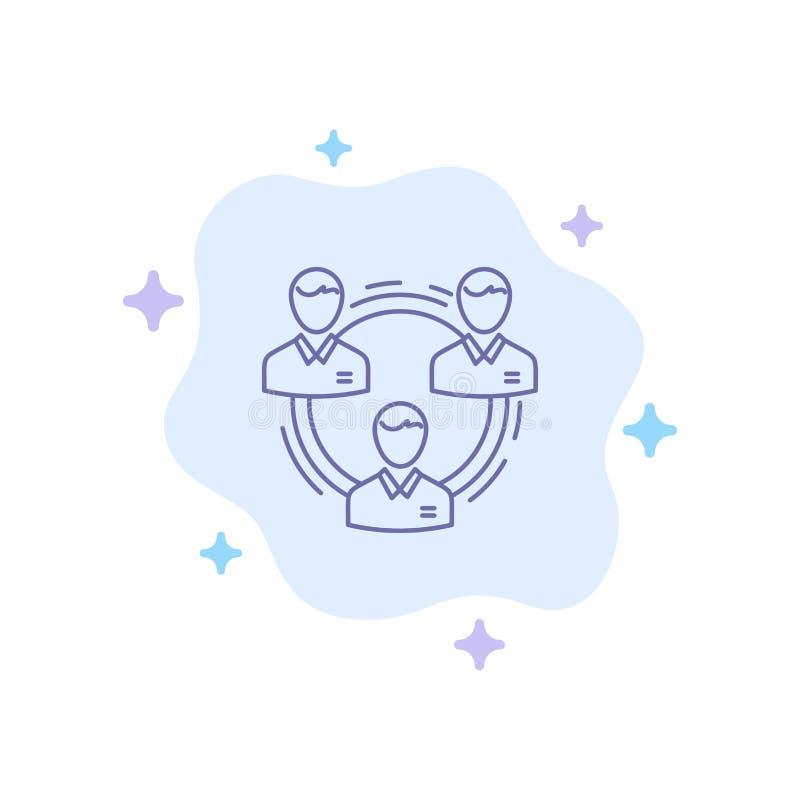 Equipo, negocio, comunicación, jerarquía, gente, social, icono azul de la estructura en fondo abstracto de la nube ilustración del vector