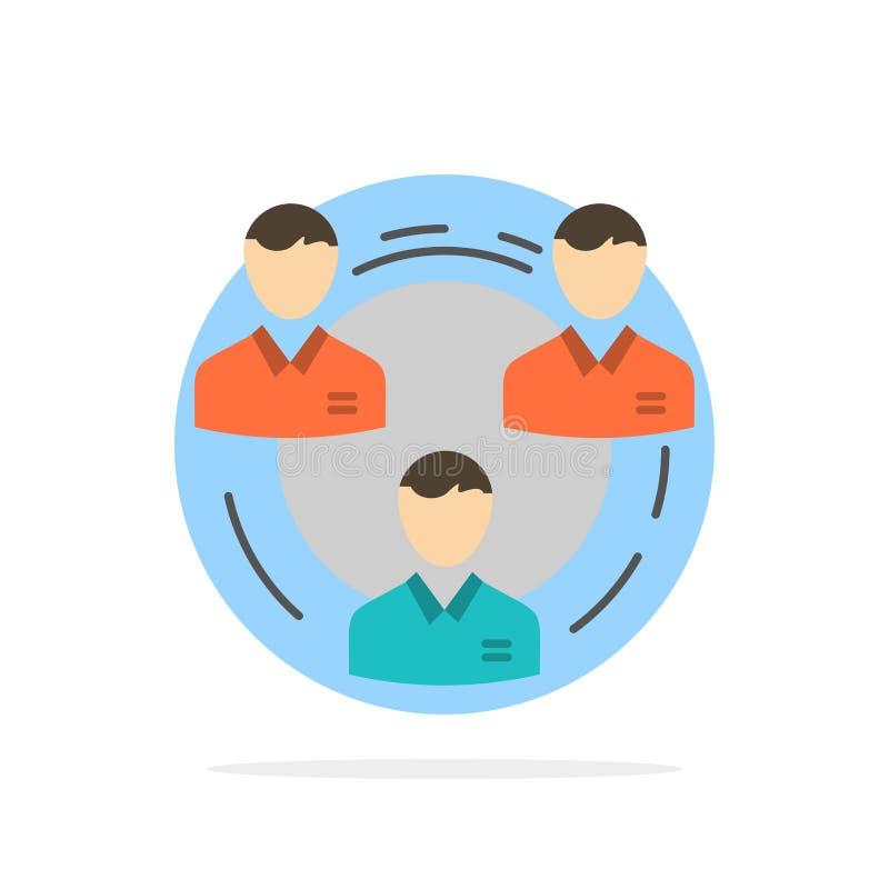 Equipo, negocio, comunicación, jerarquía, gente, social, icono plano del color de fondo del círculo del extracto de la estructura libre illustration