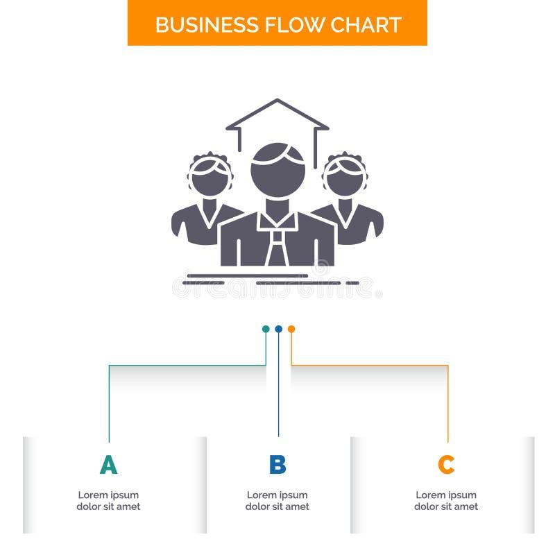 Equipo, negocio, trabajo en equipo, grupo, haciendo frente a dise?o del organigrama del negocio con 3 pasos Icono del Glyph para  stock de ilustración