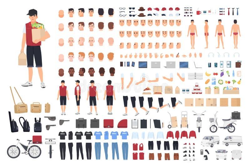 Equipo o constructor de la animación del individuo de la entrega de la comida Sistema de las partes del cuerpo masculinas del ` s libre illustration