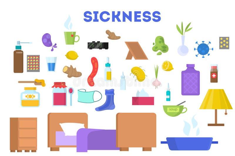 Equipo para el juego de caracteres enfermo Comida y medicación stock de ilustración