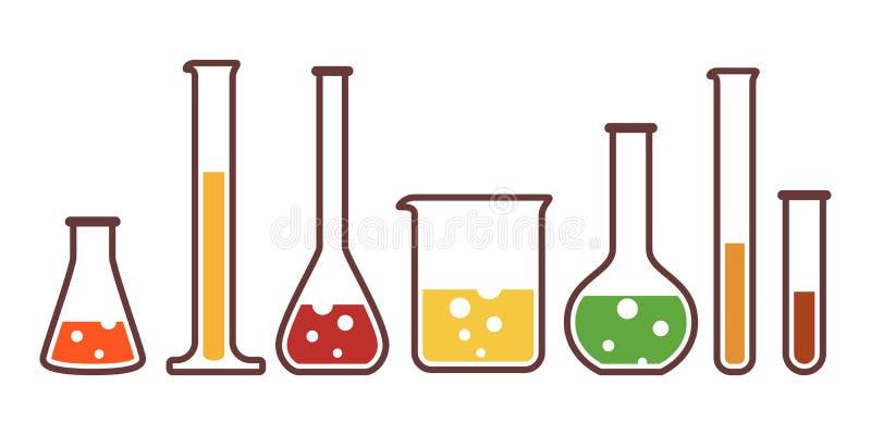 Equipo para el laboratorio químico stock de ilustración