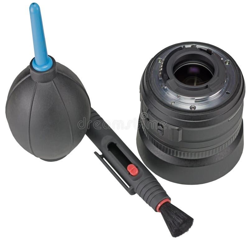Equipo para la cámara digital de limpieza de la lente en blanco fotografía de archivo libre de regalías
