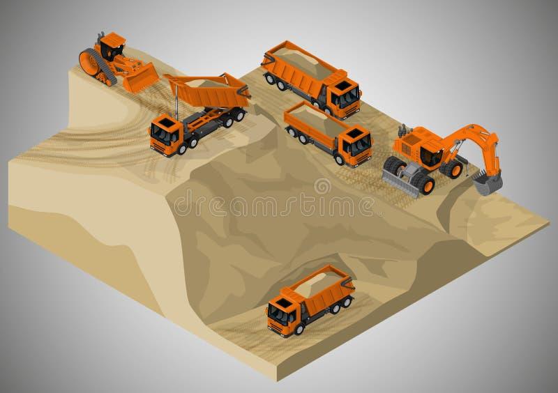 Equipo para la industria de la alto-explotación minera ilustración del vector