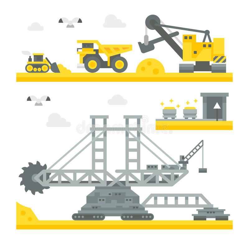 Equipo plano de la mina del diseño libre illustration