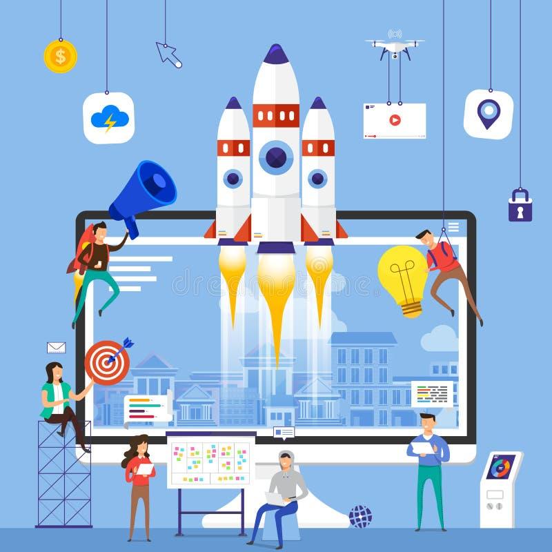 Equipo plano del concepto de diseño que trabaja para construir los wi de la compañía de lanzamiento stock de ilustración