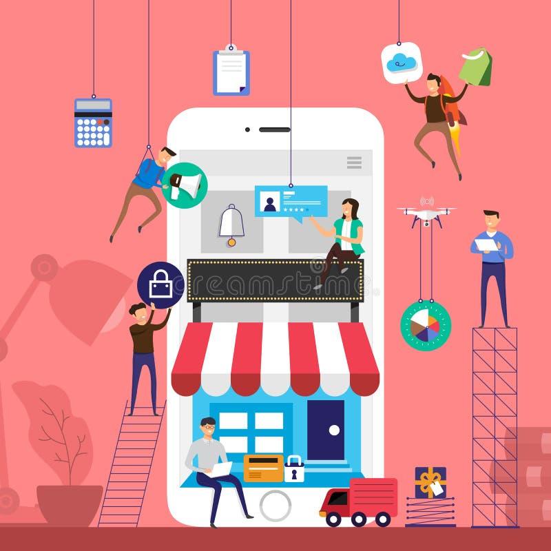 Equipo plano del concepto de diseño que trabaja para el comercio electrónico de la tienda en línea técnico ilustración del vector