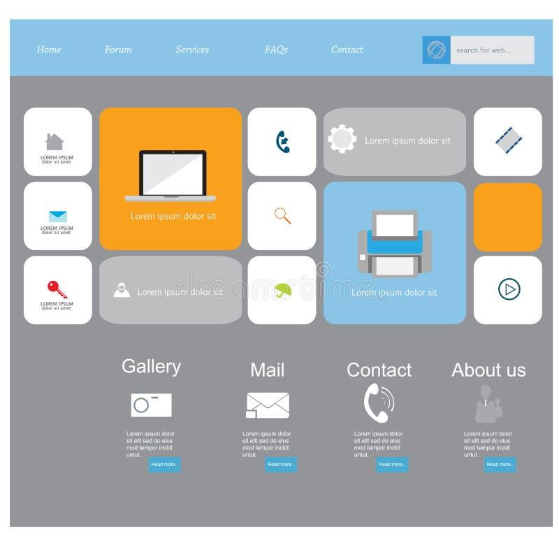 Equipo plano moderno del vector del diseño de UI en color de moda con el teléfono móvil simple, los botones, las formas, las vent libre illustration