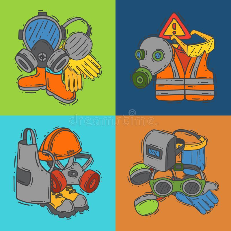 Equipo protector personal para el ejemplo seguro del vector del trabajo Venta grande en bandera de las fuentes de salud y de la s stock de ilustración