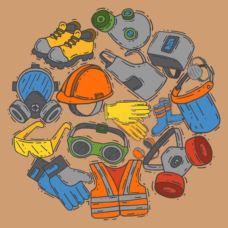Equipo protector personal para el ejemplo seguro del vector del trabajo Venta grande en fuentes de salud y de la seguridad alrede stock de ilustración
