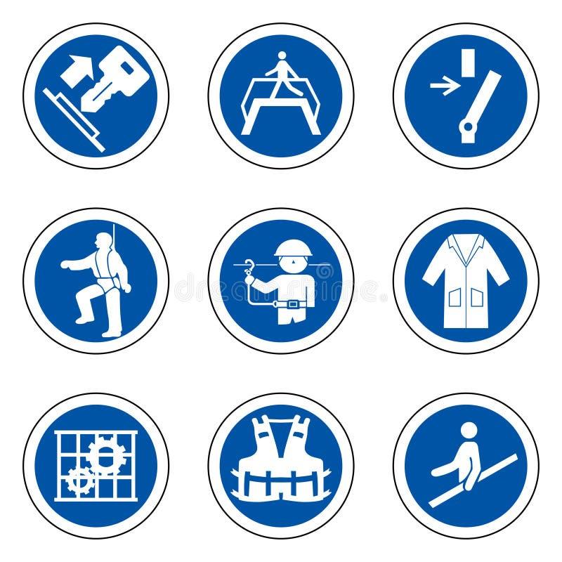 Equipo protector personal requerido ( PPE) Símbolo, aislante del icono de la seguridad en el fondo blanco, ejemplo EPS del vector libre illustration