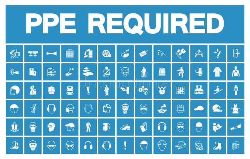 Equipo protector personal requerido ( PPE) Símbolo, aislante del icono de la seguridad en el fondo blanco, ejemplo EPS del vector ilustración del vector