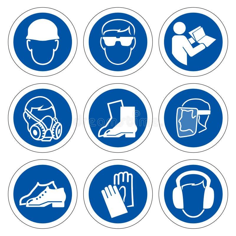 Equipo protector personal requerido ( PPE) S?mbolo, icono de la seguridad, ejemplo del vector libre illustration