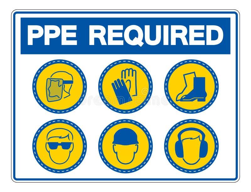 Equipo protector personal requerido ( PPE) S?mbolo, icono de la seguridad, llustration del vector stock de ilustración