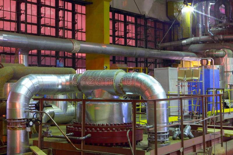 Equipo químico de la fábrica foto de archivo