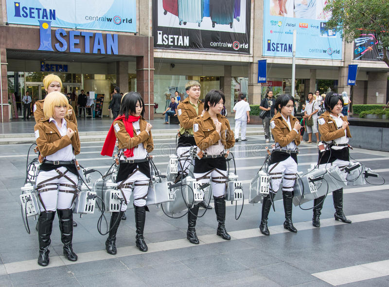 Equipo tailandés del cosplayer de la animación fotos de archivo
