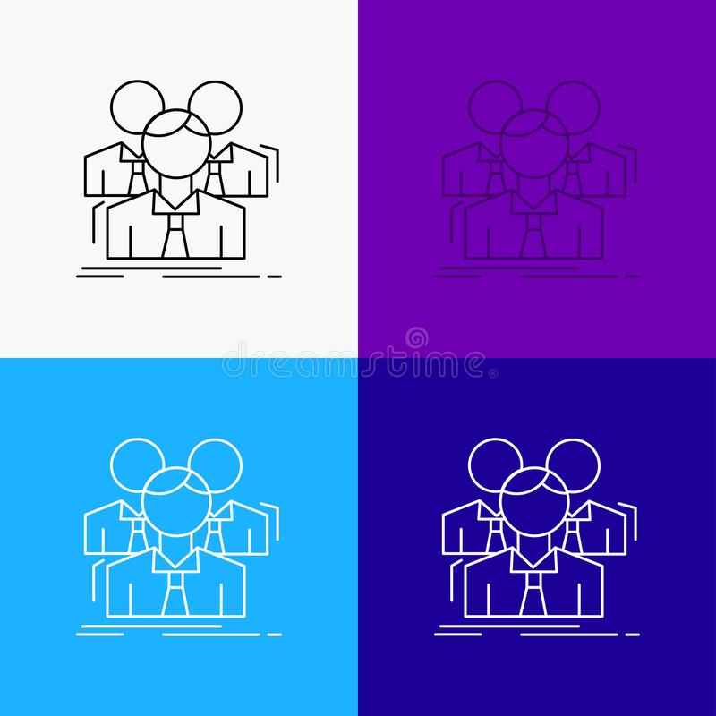 Equipo, trabajo en equipo, negocio, reuni?n, icono de grupo sobre diverso fondo L?nea dise?o del estilo, dise?ado para la web y e ilustración del vector