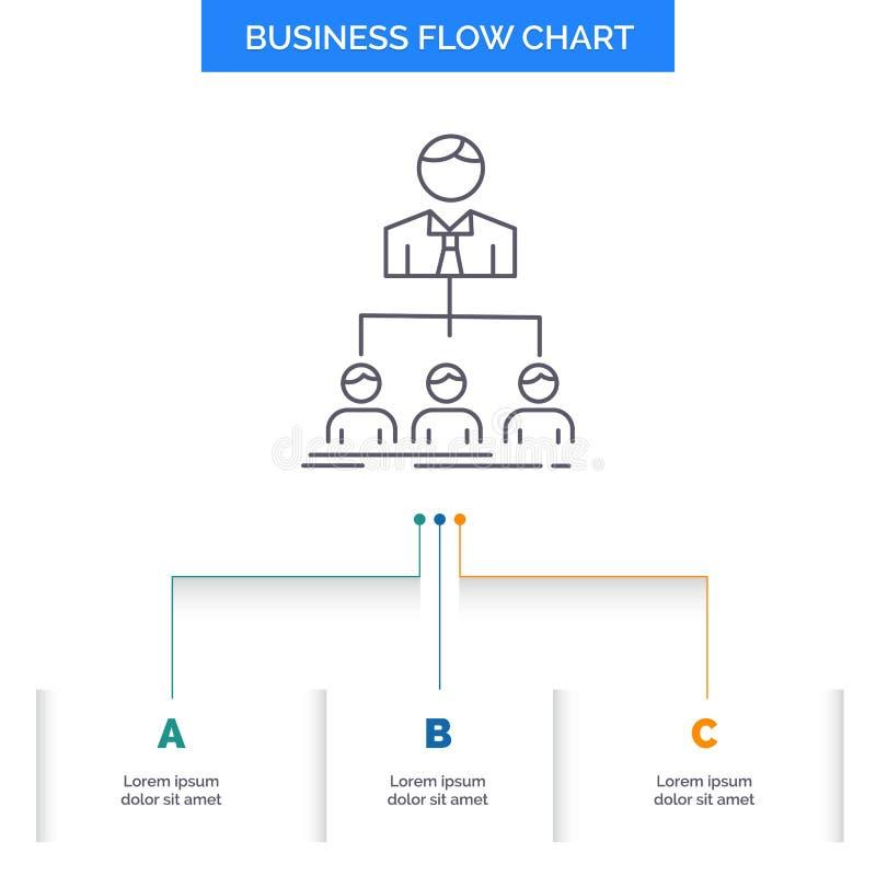 equipo, trabajo en equipo, organización, grupo, diseño del organigrama del negocio de la compañía con 3 pasos L?nea icono para el libre illustration