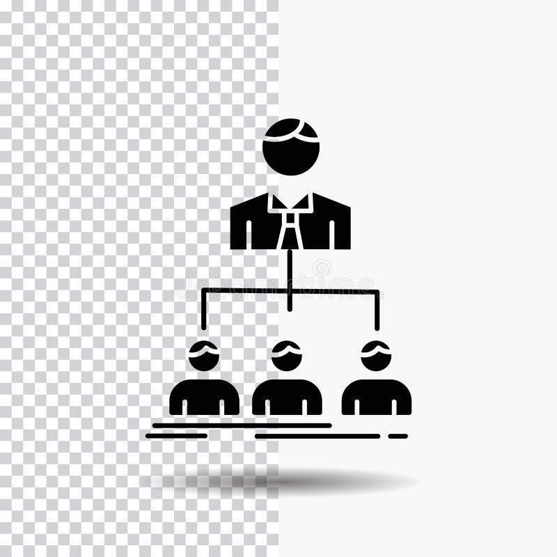 equipo, trabajo en equipo, organización, grupo, icono del Glyph de la compañía en fondo transparente Icono negro stock de ilustración