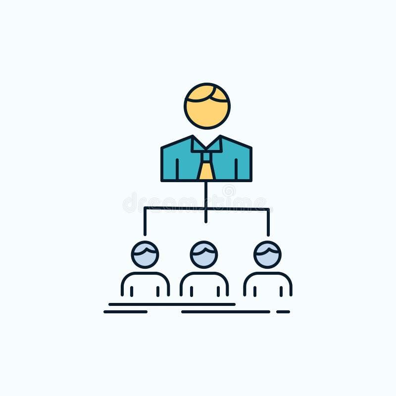 equipo, trabajo en equipo, organización, grupo, icono plano de la compañía muestra y s?mbolos verdes y amarillos para la p?gina w libre illustration