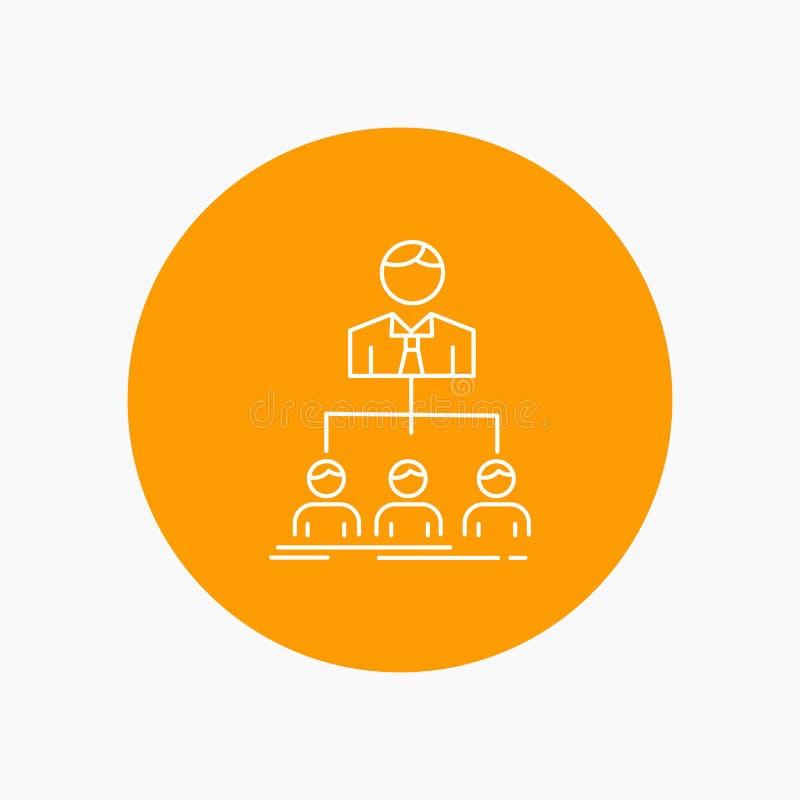 equipo, trabajo en equipo, organización, grupo, línea blanca icono de la compañía en fondo del círculo Ejemplo del icono del vect ilustración del vector