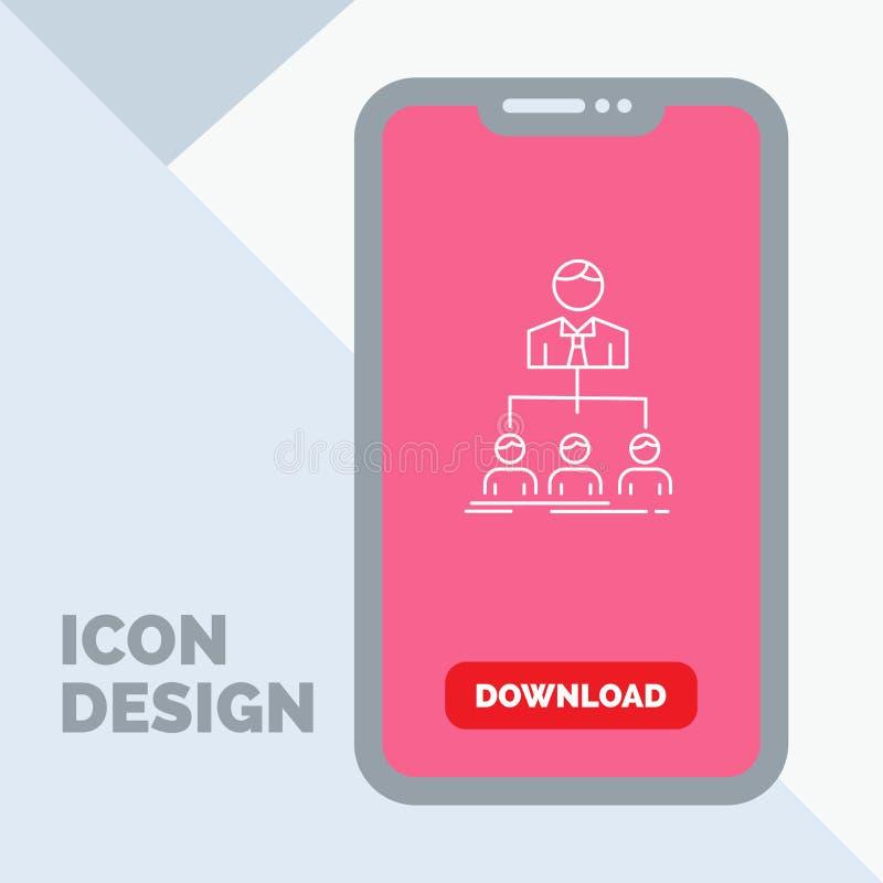 equipo, trabajo en equipo, organización, grupo, línea icono de la compañía en el móvil para la página de la transferencia directa stock de ilustración