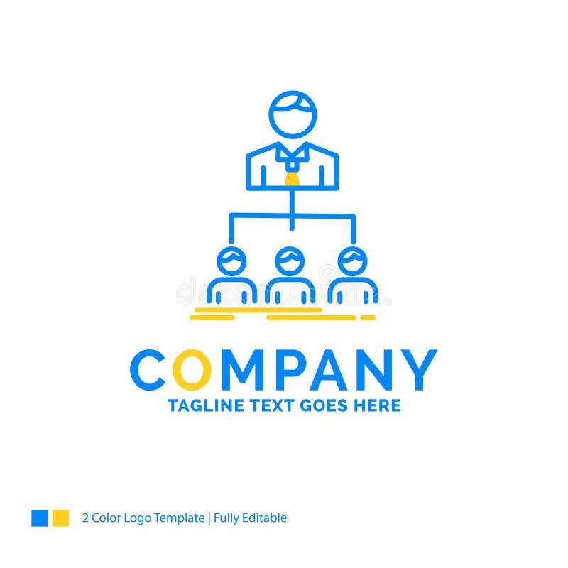 equipo, trabajo en equipo, organización, grupo, negocio amarillo azul de la compañía ilustración del vector
