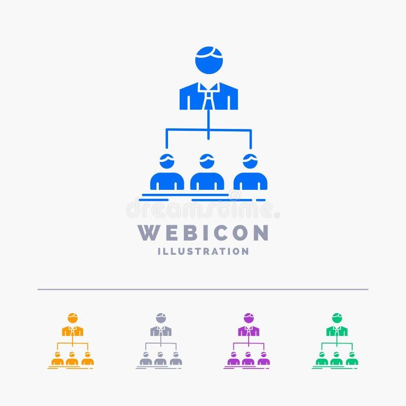 equipo, trabajo en equipo, organización, grupo, plantilla del icono de la web del Glyph del color de la compañía 5 aislada en bla ilustración del vector