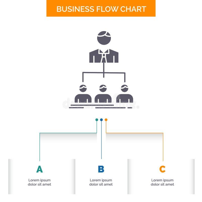 equipo, trabajo en equipo, organizaci?n, grupo, dise?o del organigrama del negocio de la compa??a con 3 pasos Icono del Glyph par stock de ilustración
