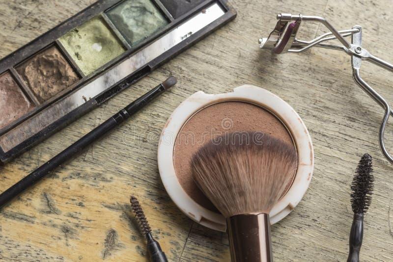 Equipo usado del maquillaje foto de archivo libre de regalías