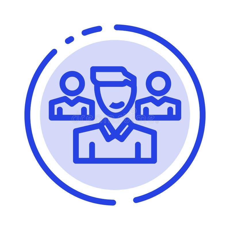 Equipo, usuario, encargado, línea de puntos azul línea icono del pelotón libre illustration