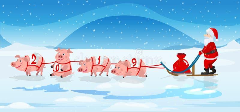 Equipo y santa del trineo de los cerdos con el bolso rojo de los chrismas stock de ilustración