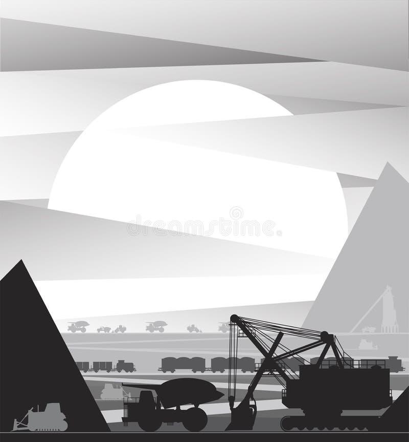 Equipo y transporte de la mina de la explotación minera ilustración del vector