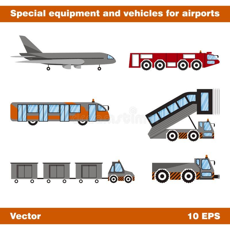 Equipo y vehículos especiales para los aeropuertos Sistema de objetos aislados en el fondo blanco ilustración del vector